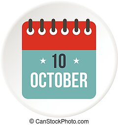 Columbus Day calendar, 10 october icon circle