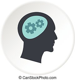 Thought process in head icon circle