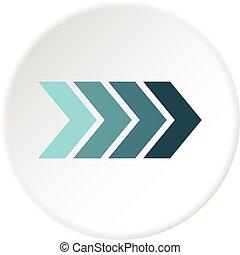 Striped arrow icon circle - Striped arrow icon in flat...