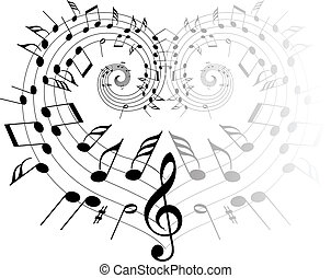 Music theme black notes on white background - heart