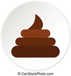 Turd icon circle - Turd icon in flat circle isolated vector...