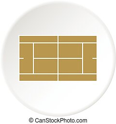 Tennis court icon circle - Tennis court icon in flat circle...