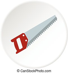 Wood saw icon circle - Wood saw icon in flat circle isolated...