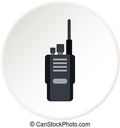 Portable radio transceiver icon circle - Portable radio...