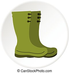 Rubber boots icon circle - Rubber boots icon in flat circle...