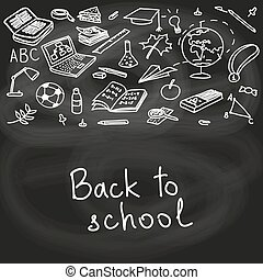 Back to school, hand drawn set color sketch, doodle, vector. Chalk board style.
