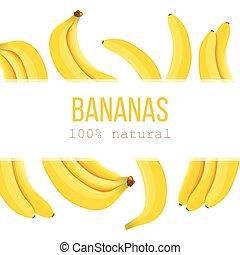 Ripe Bananas Horizontal label with text 100 percent natural...