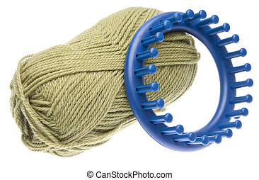 Knitting Loom with Yarn - Blue round knitting loom with...
