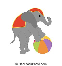 Elephant on the ball in circus