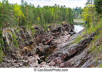 Imatra, Suomi or Finland - Vuoksa river and rocky canyon...