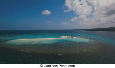 Aerial view beautiful beach on tropical island. Camiguin...