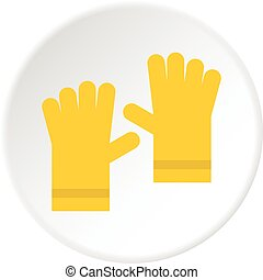 Yellow rubber gloves icon circle - Yellow rubber gloves icon...