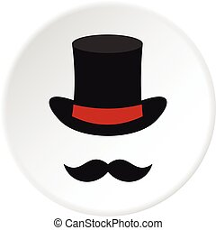 Cylinder and moustaches icon circle - Cylinder and...