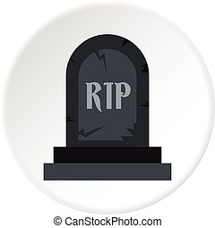 Grave RIP icon circle - Grave RIP icon in flat circle...