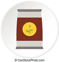 Flower seeds in package icon circle - Flower seeds in...