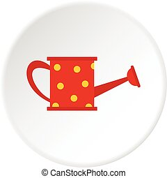 Red watering can icon circle - Red watering can icon in flat...