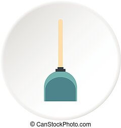 Dustpan icon circle - Dustpan icon in flat circle isolated...