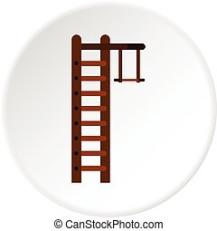 Swedish ladder icon circle - Swedish ladder icon in flat...