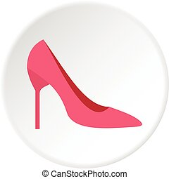 Womens shoe icon circle - Womens shoe icon in flat circle...
