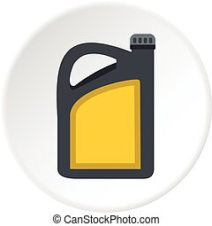 Plastic canister of gasoline icon circle