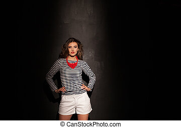 girl pinup fashion styles on black background