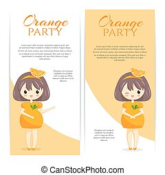 Set of cute kawaii girls in orange dress with decoration in hair isolated on white background.
