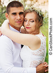 Cute and lovely young just married couple.