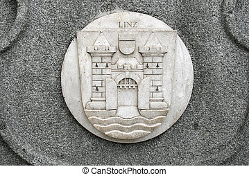 Linz - Coat of arms carved in stone - Linz, Austria. Stone...