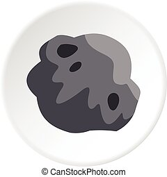 Asteroid icon circle - Asteroid icon in flat circle isolated...