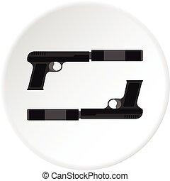 círculo, arma de fuego, icono