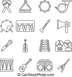 Musical instruments icons set, outline style - Musical...