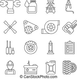 Auto repair icons set, outline style - Auto repair icons...