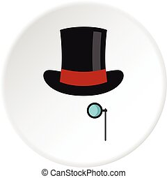 Hat with monocle icon circle - Hat with monocle icon in flat...