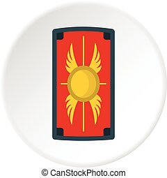 Shield with ornament icon circle