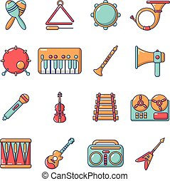 Musical instruments icons set, cartoon style - Musical...