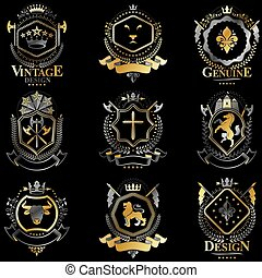 Heraldic vector signs decorated with vintage elements, monarch crowns, religious crosses, armory and animals. Set of classy symbolic graphic insignias.