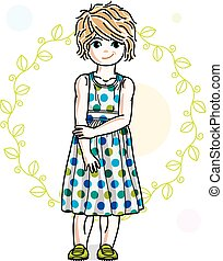 Happy little blonde girl posing on spring background with green leaves and wearing fashionable casual clothes. Vector character.