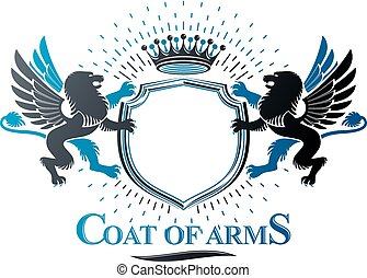 Graphic emblem composed with Brave Lion King and imperial crown. Heraldic Coat of Arms decorative logo isolated vector illustration.
