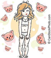 Pretty little fair-haired girl in underwear standing on animals background. Vector pretty nice human illustration.