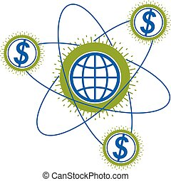 Global Cooperation and Business conceptual logo, unique vector symbol created with different elements. Global Financial System. World Economy.