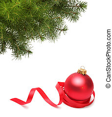 Christmas ball and green spruce