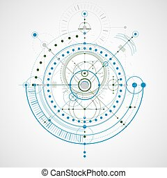 Geometric technology vector drawing, technical wallpaper. Abstract scheme of engine or engineering mechanism, colorful