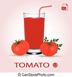 Set Of Tomato Juice And Fresh Ripe Tomatos.