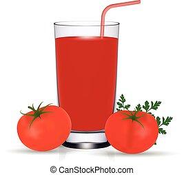 Set Of Tomato Juice And Fresh Ripe Tomatos Isolated On A White Background.