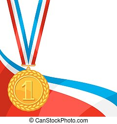 Realistic gold medal for first place. Background with place for text award for sports or corporate competitions