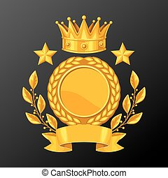 Realistic gold cup with laurel wreath. Illustration of award for sports or corporate competitions