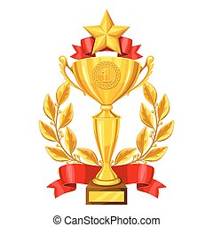 Realistic gold cup with laurel wreath and star. Illustration of award for sports or corporate competitions