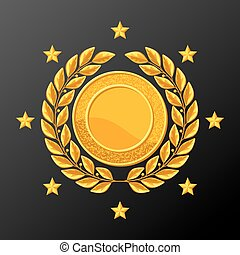 Realistic gold medal with laurel wreath. Illustration of award for sports or corporate competitions