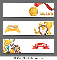Banners with realistic gold awards. Backgrounds for sports or corporate competitions