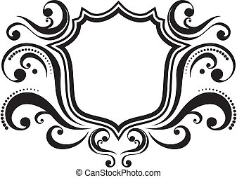 retro frame - blank ornamental emblem with classic design...